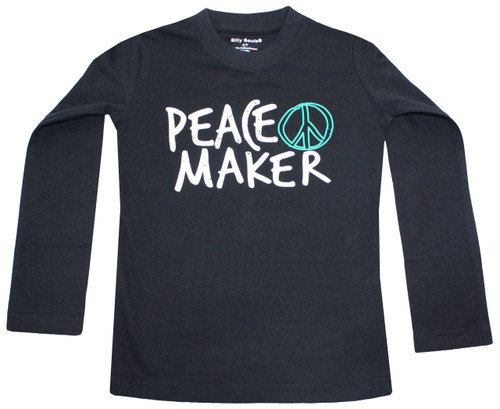 Peace Maker long sleeve tee for toddler boy and big boys sizes 2 to 12 years.  Back says Be the good you wan to see in the world.  also available in infant bodysuit and infant, toddler and big kids sweat suit.