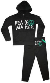 Peace Maker 2 piece hooded sweat suit in infant boy, toddler boy and big boys sizes 0 months to 12 years.  Back says Be the peace you wan to see in the world.  Also available in bodysuit for baby and long sleeve tee for toddler and big boys.