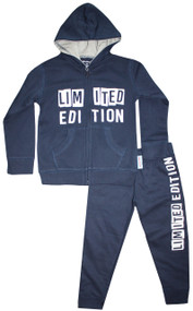 front view navy and grey Limited Edition cool baby boys, toddler boys and big boys cotton fleece hooded sweat suit.  Also available is matching bodysuit for baby and tee for big boys.