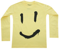 Hello Sunshine sunny yellow smile long sleeve tee.  Unisex toddler and big kids.  Also available in infant union suit.