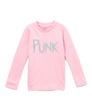 Punk long sleeve girls tee in pink and grey available in sizes 2t-12years. also available in onesie 0-24 months.