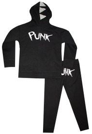 back view: Punk Born Ready: infant, toddler and big boys black punk hooded sweatsuit with dianasaur spikes on hood
