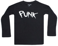 Punk toddler and big kids l/s tee black and white