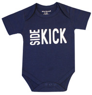 Side Kick Wing Man, Navy Blue Boys Bodysuit