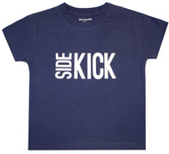Side Kick, Wing Man, navy and white boys Tee