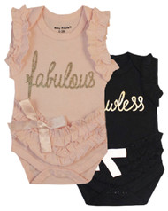 Fabulous, Flawless set, black and pink girls 2 bodysuit set