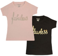 Fabulous, Flawless set, black and pink girls 2 Tee set