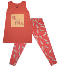 BeYOUtiful, peach girls dress and legging set
