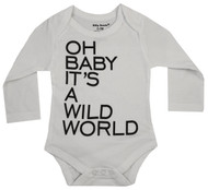 Oh Baby it's a wild world, white and grey bodysuit