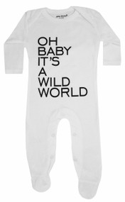 Oh Baby it's a wild world, white and grey footie