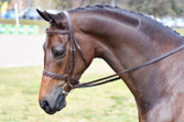''Anisley Above and Beyond'' wearing Havana Imperial Gold Crown Snaffle Bridle. Image courtesy Lorelle Mercer.