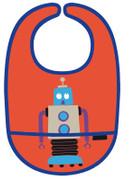 Petit Jour PVC Coated Cotton Bib Red Robot