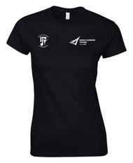 BMET College Performing Arts Black Ladies T-Shirt Large Logo