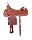 Bob Avila Cowhorse  - B10-0078   This Bob Avila Cowhorse  Features the popular Slick Seat. It is a medium oil with floral and basket tooling throughout with and eyecatching Aztec border. It has fancy round conchos accented with nailheads. This saddle also has a taller horn for working cattle.