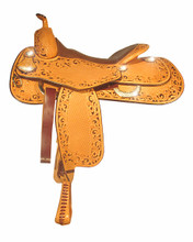 "Bob Avila Reiner B12-049   This is a fancy Bob Avila Reiner with a floral and basket tooling combination with round corners. The background of the floral tooling has been dyed dark brown which really make this saddle ""Pop"". It is accented with simple silver conchos and D rings. ."