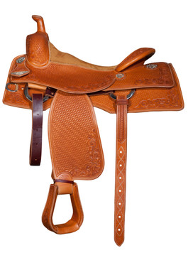 Bob Avila Cow Horse B12-010   This is an attractive Bob Avila Cow Horse Saddle with a medium/light oil and floral and basket tooling pattern throughout. It has fancy silver conchos and a padded rough-out seat.