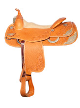 Bob Avila Reiner - B10-002   Super Fancy Bob Avila Reiner. Half basket tooled and half floral tooled. This saddle has 4 silver corner plates, fancy conchos to match and a sliver front.