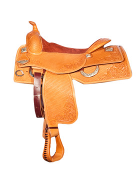 Bob Avila Reiner - B10-0003   This Bob Avila Reiner Saddle features Bold Square silver conchos, Silver rear D Rings, half basket and half floral tooling, along with an attractive rough-out seat.