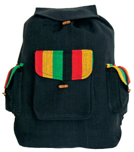 P7-11  -  Rasta 3 Pocket Back Pack Pull String Close
