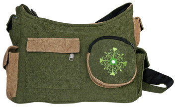 sturdy Shoulder bag with 6 outside pockets. Features a cool embroidery with mirror on front pocket