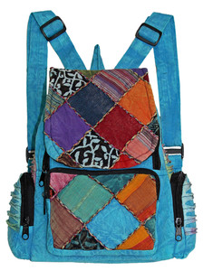 Great Back Pack with 3 pockets set with unique patchwork