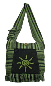 Solid woven material with patch sun - zipper close long hobo purse with tassle