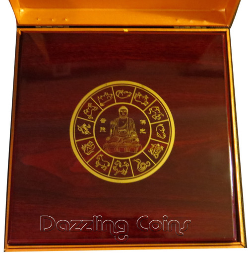 Chinese Calendar Budha Medallion With 12 Lunar Gold Plated