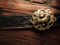 Buckle shown against Vintage 60's Hand Carved hall Saddlery Western Belt.