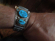 Sold! A Stunning Vintage Sterling Silver and Turquoise watch band in Snake Motif by the Great Zuni Artist Effie C. (deceased)