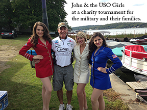 John and the USO Girls at a charity tournament.