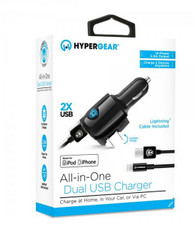 HyperGear All-In-One Dual USB Car and Wall Charger - Lightning Cable Included- Black
