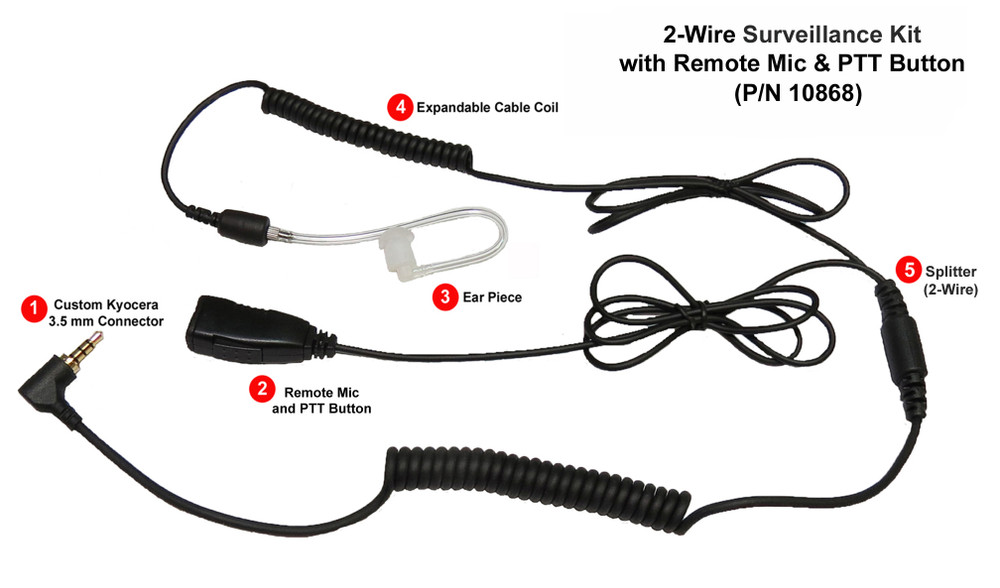 Kyocera Acoustic Tube PTT Headset Smart 2-in-1 with Remote