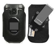 Wireless ProTech Genuine Leather Fitted Case  with Heavy Duty D-Ring Swivel Belt Clip for Kyocera DuraXV Extreme E4810