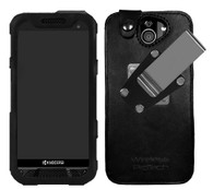 Wireless ProTech Leather Frame Fitted Case with Quad Lock Belt Clip for the Kyocera DuraForce Pro 2 E6910 / E6920 Phone