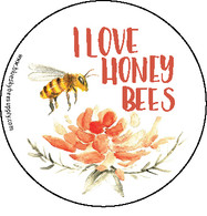 I love honey bees (roll of 1000 stickers) [IL-B]