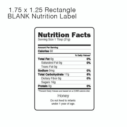 Nutrition Labels For Honey Roll Of 500
