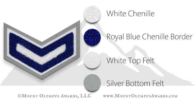 1 Bar 2 Color Chevron Varsity Jacket Chenille Patch
