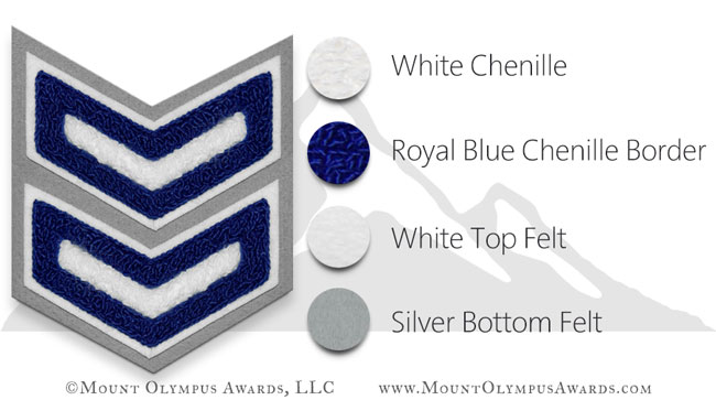 2 Bar 2 Color Chevron Varsity Jacket Chenille Patch