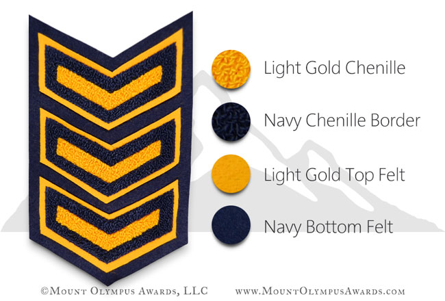 3 Bar 2 Color Chevron Varsity Jacket Chenille Patch