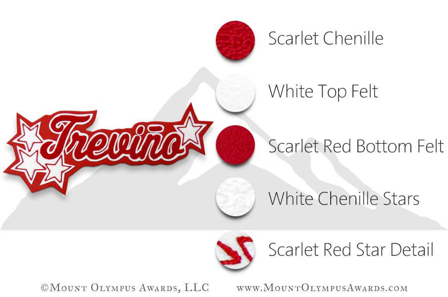 """3x2"""" Double Felt Chenille Name with Stars Color Description"""