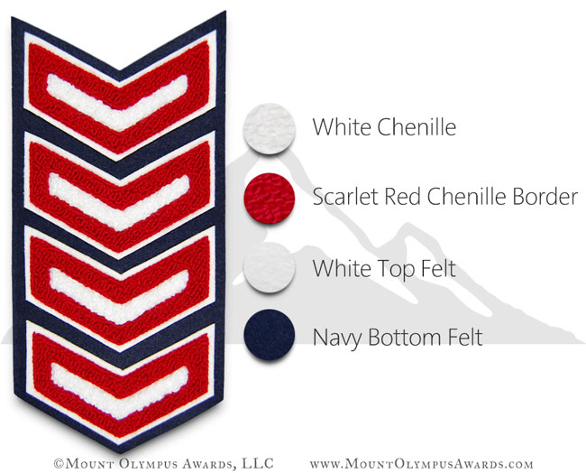 4 Bar 2 Color Chevron Varsity Jacket Chenille Patch