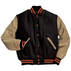 Black and Cream Letter Jacket with Orange Stripes