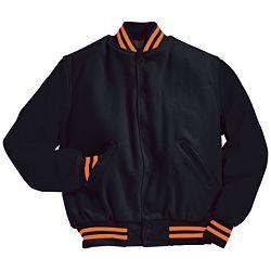 Black Varsity Letterman Jacket with Orange Stripes