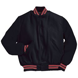 Black Varsity Letterman Jacket with Scarlet Red and White Stripes