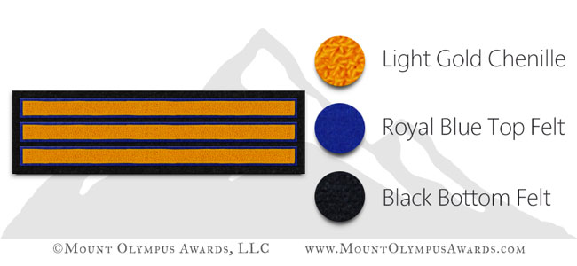 Varsity Jacket 3-Bar Sleeve Stripe Chenille Patch