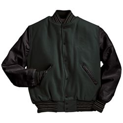 Forest Green and Black Varsity Letterman Jacket