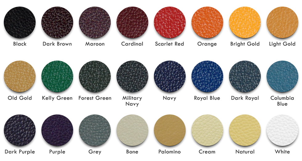 Leather Color Chart for Varsity Letterman Jackets at Mount Olympus Awards