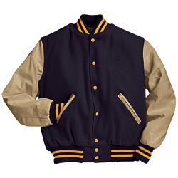 Military Navy and Cream Varsity Letterman Jacket