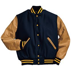 Military Navy and Light Gold Varsity Letterman Jacket