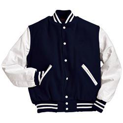 Military Navy and White Varsity Letterman Jacket